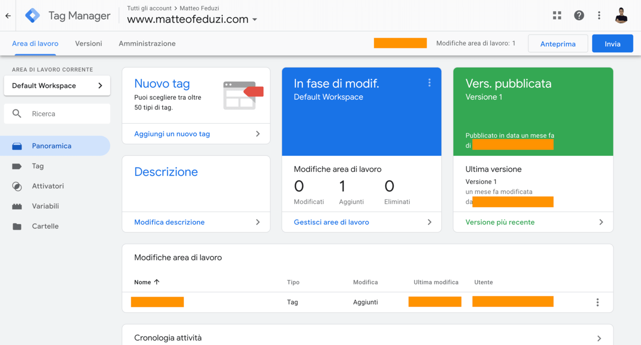 Dashboard di Google Tag Manager