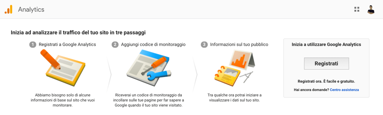 Creare un account Google Analytics