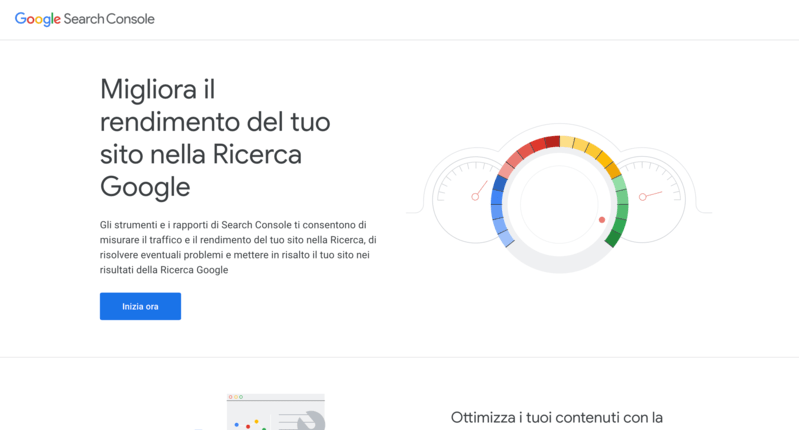 Home della Google Search Console